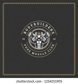 Fitness gym badge or emblem vector illustration. Man bodybuilder lifting dumbbells silhouette for t-shirt or print stamp. Retro typography logo design.