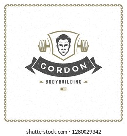 Fitness gym badge or emblem vector illustration. Bodybuilder man head and barbell silhouette for t-shirt or print stamp. Retro typography logo design.