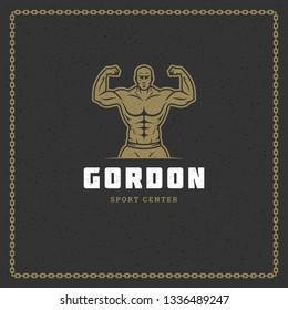 Fitness gym badge or emblem vector illustration. Bodybuilder man silhouette for t-shirt or print stamp. Retro typography logo design.