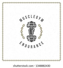 Fitness gym badge or emblem vector illustration. Bodybuilder man hand holding dumbbell for t-shirt or print stamp. Retro typography logo design.
