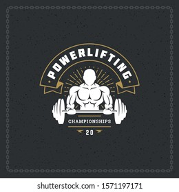 Fitness gym badge or emblem vector illustration bodybuilder man lifting a heavy barbell silhouette for t-shirt or print stamp. Retro typography logo design.