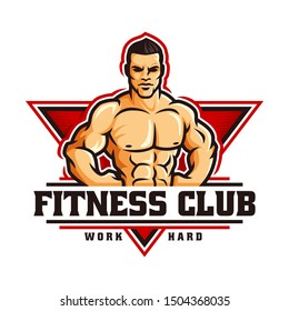 Fitness gym bodybuilder logo template in vector, with muscle man character or mascot