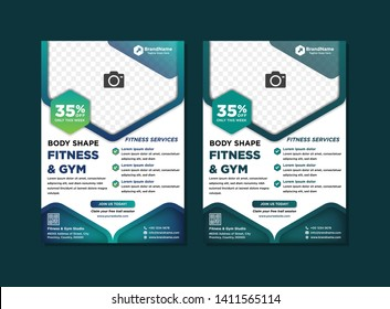 Fitness Gym Business Flyer Template. Gradient green and blue colors Professional Sports Gym Health Flyer Design. hexagon space for photo collage
