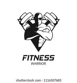 Fitness and gym center badge logo design template. Gymnastic bodybuilder sport club icon vector illustration