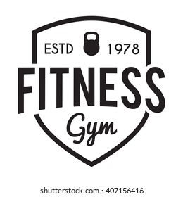 Fitness and Gym center typographic hipster Themed Badge Label with weight. For  fit signage, sport prints and stamps poster.