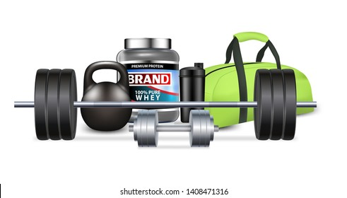 Fitness gym equipment and sport nutrition vector realistic illustration. Weigher, dumbbell, kettlebell, barbell, bag, whey protein. Weightlifting, powerlifting or bodybuilding workout for mass muscle.