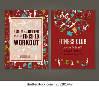 Fitness gym flyer. Fitness doodle hand drawn pattern. Seamless vector background under clipping mask.