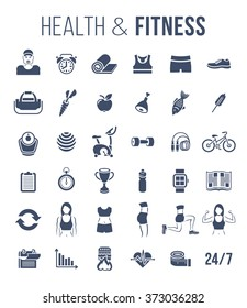 Fitness gym and healthy lifestyle flat silhouettes vector icons. Diet nutrition, shaping workout, equipment, personal trainer, sport clothes infographic elements. Exercises for female body muscles
