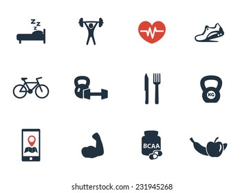 fitness, gym icons set vector illustration, eps10, easy to edit