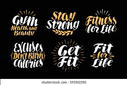 Fitness or Gym, label. Sports icons set, symbol. Lettering, calligraphy vector illustration