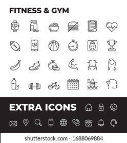 Fitness And Gym Line Icon Set with extra set of most common icons. Unique Style of Outline Icons for web, mobile app and infographics at presentations