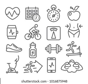 Fitness and Gym line icons set on white background