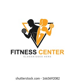 Fitness Gym logo design template with exercising athletic man and woman isolated on white, vector illustration