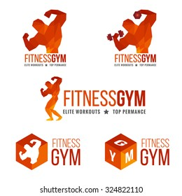 Fitness gym logo (Men's muscle strength and weight lifting)
