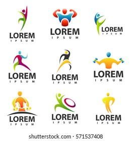 Fitness Gym Logo Set Sport Vector Icon
