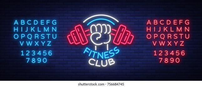Fitness, gym logo sign in neon style isolated, vector illustration. A glowing banner, a bright neon sign, a night advertisement of a fitness club, a sports hall, a sports club. Editing text neon sign.