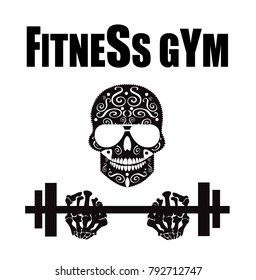 Fitness gym logo with skull icon background black and white