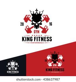 Fitness & GYM logo template.skull logo, king logo template.