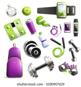 Fitness gym realistic set with equipment and accessories symbols isolated vector illustration