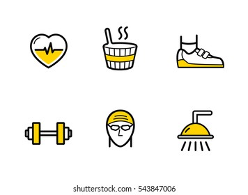 Fitness gym services. Line icons set.