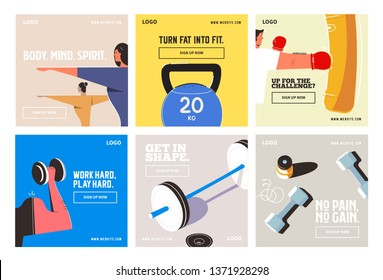 Fitness gym social media post collection template