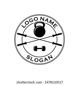 fitness Gym tool equipment logo design idea with barbell kettle bell and dumb bell symbol icon vintage look. Fitness and bodybuilding club logo template. Sport icon initial smart phone
