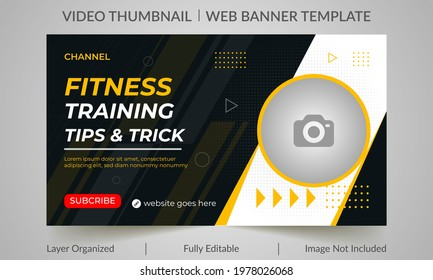 Fitness gym training class thumbnail design for any videos. Fitness gym customizable video thumbnail and web banner template. Video cover photo template for social media