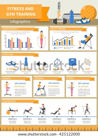 fitness gym training infographics presenting sport stock vector