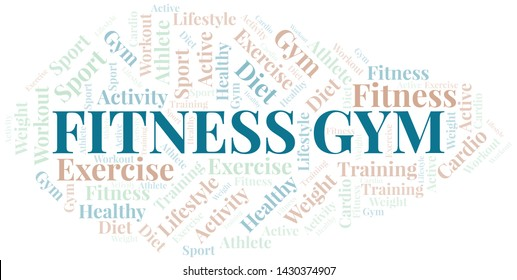 Fitness Gym word cloud. Wordcloud made with text only.