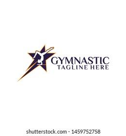 Fitness Gymnastic Logo Silhouette Sportswoman Tempalte Vector