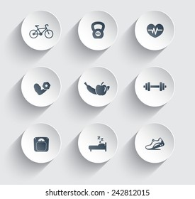 fitness, health, gym trendy icons on circles with shadow vector illustration, eps10, easy to edit