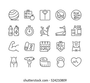 fitness and health thin line icon set, black color, isolated