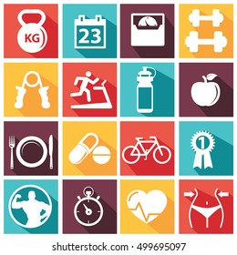 Fitness and Health vectoe icons with long shadow.