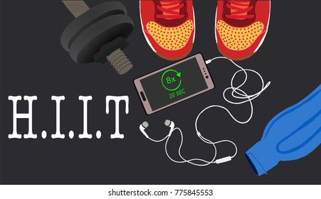 Fitness, healthy and active lifestyles concept. Dumbbells, sport shoes, smart phone with earphone and water bottle on gym floor with word hiit(high intensity interval training) illustration vector
