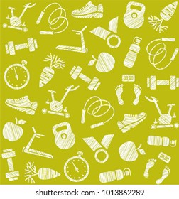 Fitness and a healthy lifestyle. Hatching a white pencil on a yellow-green field. Imitation. Vector pattern.