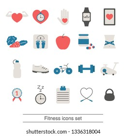 Fitness and healthy lifestyle icon set. Trendy flat design.
