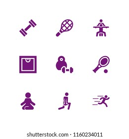 fitness icon. 9 fitness set with tennis, yoga, runer silhouette running fast and sports and competition vector icons for web and mobile app