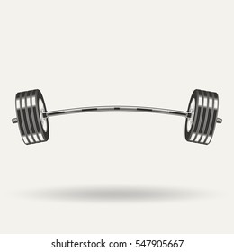 Fitness icon, barbell monochrome style on white background, vector