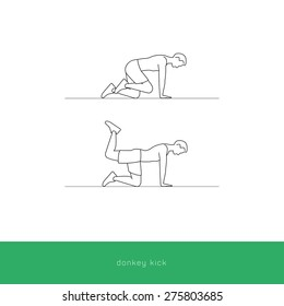 Fitness Icon doing the donkey kicks workout. Fitness instruction. To use for workout instructions. Vector and illustration design.
