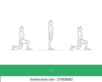 Fitness Icon doing the lunges workout. Fitness instruction. To use for workout instructions. Vector and illustration design