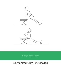 Fitness Icon doing the triceps bench dips workout. Fitness instruction. To use for workout instructions. Vector and illustration design.