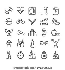 Fitness icon set. Gymnastic equipment pictogram for web. Line stroke. Isolated on white background. Vector eps10