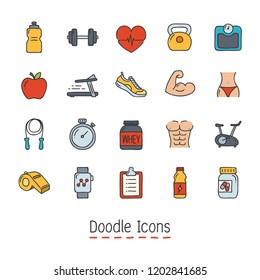 Fitness Icon Set. Hand Drawn Doodle Icon.