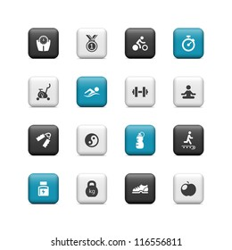 Fitness icons. Buttons
