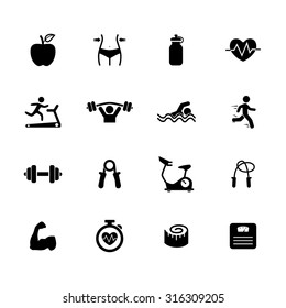 Fitness icons. Health icon. Gym icon. Exercise icons. Vector Illustration. EPS10