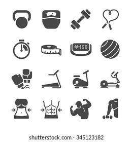 Fitness icons. Included the icons as abs, training, workouts, exercise, machine, gym and more.