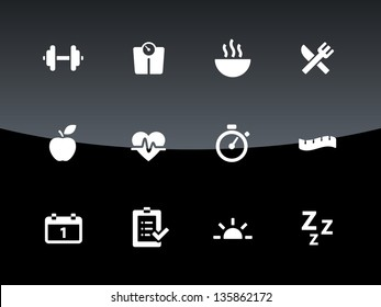 Fitness icons on black background. Vector illustration.