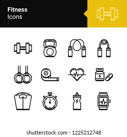 Fitness icons outline