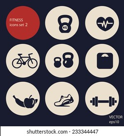 fitness icons set 2 vector illustration, eps10, easy to edit