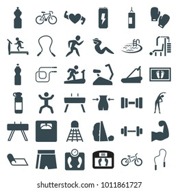 Fitness icons. set of 36 editable filled fitness icons such as exercising, treadmill, slim, pool, skipping rope, fintess equipment, sport shorts, man on treadmill